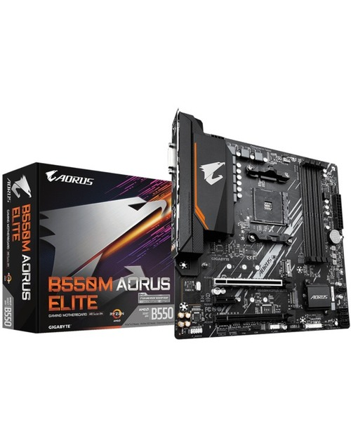 Материнская плата Gigabyte B550M AORUS ELITE Soc-AM4 AMD B550 4xDDR4 mATX AC`97 8ch(7.1) GbLAN RAID+DVI+HDMI